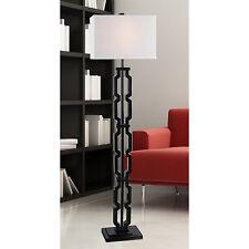 Modern Floor Lamp Black Metal Base White Fabric Shade Living Room Lighting Decor