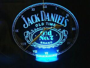 Jack Daniels Acrylic Engraved LED Clock Night Light