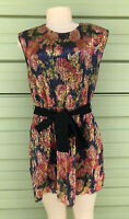 NWT Zara Woman Multicolor SEQUINNED DRESS WITH BELT Elastic Waist  Size M  O1553