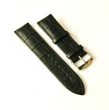 24mm Black Leather Watch Band Strap