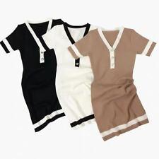 UK Women Ladies Black White Knitted Button Striped Bodycon Mini Dress