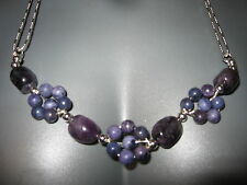 AMETHYST GEMSTONE NECKLACE Chunky Stone Flower Statement Agate 925 Sterling