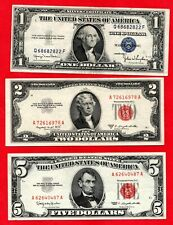 More details for 3 usa banknotes. 1935 $1, 1953 $2 & 1963 $5 bills. one, two & five dollar notes.