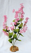 Two-tone PINK 11 in. silk Artificial Fish Aquarium FLOWER PLANT w/ STONE BASE