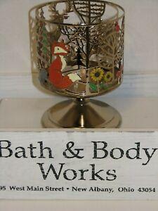 Bath Body Works 3-wick Candle Pedestal Sleeve FOREST FRIENDS Deer Fox Bear Gold