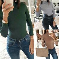 Damen Langarm T-shirt Slim Fit Bodysuit Rollkragen Blusen Freizeit Strampler L/P