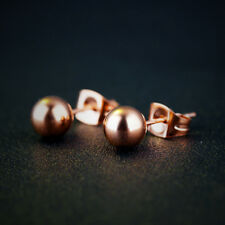 Smooth Beads Rose Gold GP Jewelry Surgical Stainless Steel Stud Earrings Gift