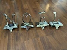 Christmas Stocking Holders Set N O E L Silver