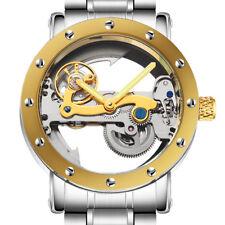 Golden Automatic Mechanical Tourbillon Watch Mens Full Steel Transparent Dial