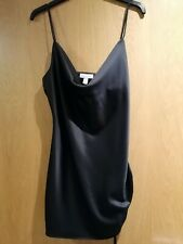 TOPSHOP BLACK SATIN DRESS WITH SIDE TIE DETAIL SIZE 10 PETITE