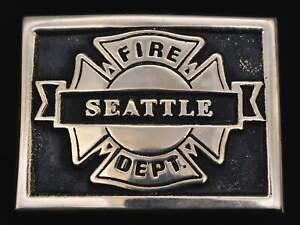 Solid Bronze Seattle Fire Department Fire Fighter Station Vintage Belt Buckle