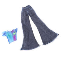 Handmade Doll Clothes Short Sleeve with Flares Pants for 9inch Girl Dolls