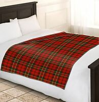 Soft & Warm Single Red Tartan Check Fleece Blankets Sofa Bed Blanket 120x150cm