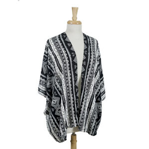 Life is Beautiful Black and White Tribal Pattern Kimono with Short Sleeves