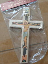 RUSSIAN  WOOD DECOPAGE CROSS large 9.35X5.75 INCHES #2