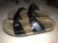 Birkenstock Black Patent Leather 2 Strap SANDALS Germany Women's Sz 9  40