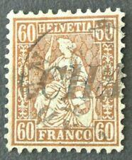 TIMBRE SUISSE 1863 HELVETIA ASSIS 60C N 26 BRONZE OBLITERE