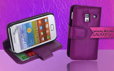 Purple Side Wallet Leather Case Cover for Samsung Galaxy ACE Plus S7500 S7500T