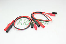 New banana plug to aligator clip test leads 4 FLUKE EXTECH multimeter RED BLACK