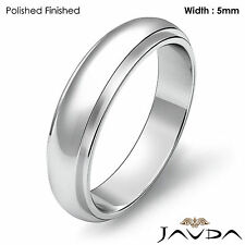 5mm Platinum 950 8.8gm Sz 7 - 7.75 Wedding Band Women Solid Dome Step Down Ring