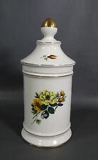 Naples Capo-Di-Monte Porcelain Herb Medicine Rx Apothecary Show jar Flowers&Gold