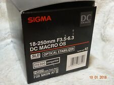 SIGMA 18 - 250mm f/3.5-6.3 DC HSM OS Telephoto Zoom Lens with Macro Nikon + hood