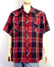 vtg 90s Wrangler Blue Red Shadow Plaid Western Pearl Snap Shirt Ss sz 4X