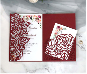 10pcs Laser Cut Event Party Invitations Cards Birthday Wedding Engagement
