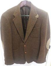 Vintage Tweed Elbow Patch Sport Coat Blazer Jacket Eagle University Tan 42R USA