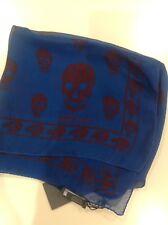 100% Genuine Alexander McQueen Silk Skull Scarf Bnwt Blue/Burgundy