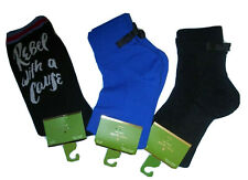Kate Spade NY lot of 3 anklet Crew Socks - blue, black, Rebel with a Cause print