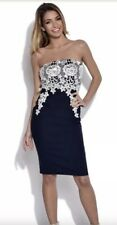 ASOS Vestry paper dolls navy strapless pencil dress white lace size 8 BNWT