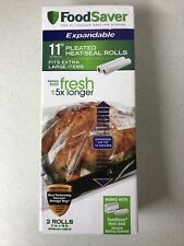 New listing FoodSaver 11 inch x 16 ft Expandable Heat-Seal Rolls - 2-Pack