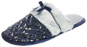 ISOTONER Steel Blue Sequin Multi Knit Janel Clog Slippers w/Fur Trim - $34