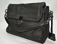 Tory Burch Black Croc Embossed Leather Patent Leather Trim Flap Satchel Bag