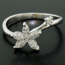 NEW Petite 18K White Gold 0.33ctw F VS Marquise Round Diamond Flower Ring Sz 6.5