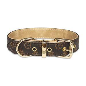 Luxury Designer Brown Monogram Dog Collar In XS, S, M, L, XL (Optional Leash)