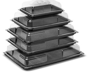 6 X Party Platter Tray Set With Lids - All Size For Sandwich Snacks Dips Buffet