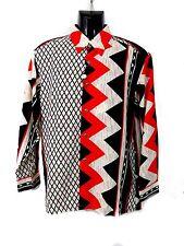 Men's Fashion Shirt in Red, Black, White Geometric Pattern