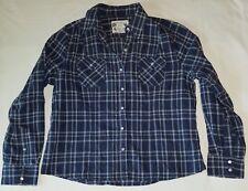 Womens northcrest navy blue/white plaid long sleeve button down  shirt sz l
