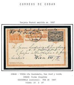Guatemala: 1897; Postal Stationery used Coban-Vienna, XF, EBG096