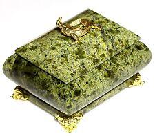 "Russian Green Serpentine Stone Jewelry Casket Trinket Storage Box Handmade 3.2"""