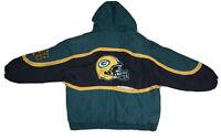 Vintage 90's Pro Line Green Bay Packers Puffer Jacket Coat NFL XL Damaged
