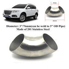1x3Inch 76mm Stainless Steel 90 Degree Bend Auto Car Elbow Exhaust Pipe Trim Kit