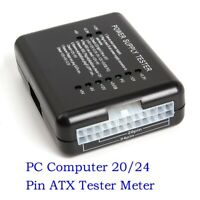 LED 20/24 Pin PSU ATX SATA HDD Power Supply Tester Checker Meter PC Computer