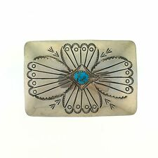 Native American Lightweight Sterling Silver Turquoise Hand Stamped Belt Buckle