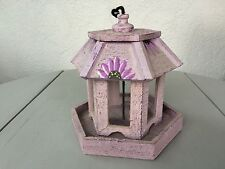 New Painted Lavender Floral Hexagon Wooden Hanging Birdhouse Feeder