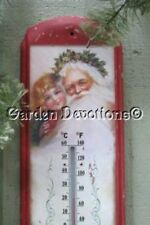 Winter Thermometer 14 inch Wall Outdoor Indoor Victorian Santa Seasons Greetings