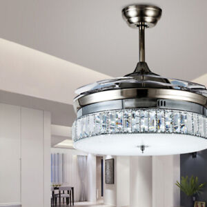 """36"""" Silver Crystal Invisible Ceiling Fan Light Chandelier Dining Room Muted Fan"""