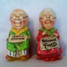 "New ListingVintage Retirement Piggy Banks Grandma and Grandpa Approx 6½"" Tall w/ Stoppers"